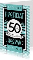 Verjaardagskaart hip stoer hooray man 50 jaar