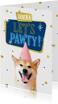 Verjaardagskaart hond feest humor confetti goud