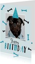 Verjaardagskaart hond happy birthday foto botjes feest
