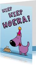 Verjaardagskaart hond met taart
