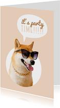 Verjaardagskaart hond met zonnebril party time