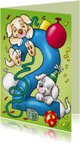Verjaardagskaart hondjes cijfer 2
