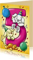 Verjaardagskaart hondjes cijfer vijf