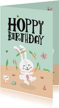 Verjaardagskaart hoppy birthday konijntje peuters kleuters