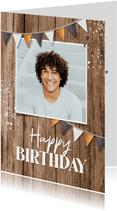 Verjaardagskaart hout man industrieel slingers fotokaart