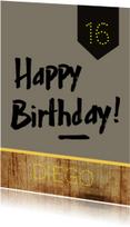 Verjaardagskaart hout