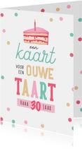 Verjaardagskaart humor taart confetti vrouw