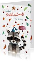 Verjaardagskaart illustratie bosdier wasbeer
