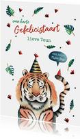 Verjaardagskaart illustratie jungle tijger