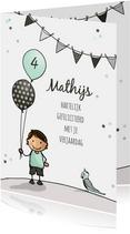 Verjaardagskaart jongen ballon a