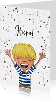 Verjaardagskaart jongen hoera confetti
