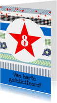 Verjaardagskaart jongen ster confetti