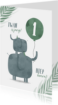 Verjaardagskaart jungle 2 olifantjes met ballon en leeftijd