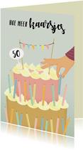 Verjaardagskaart kaarsjes op grote taart