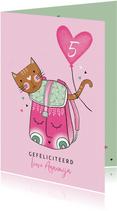 Verjaardagskaart kat in rugzak