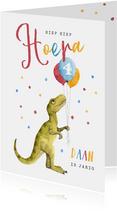 Verjaardagskaart kind dinosaurus ballonnen confetti kleuren