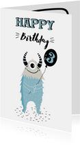 Verjaardagskaart kind met monsters
