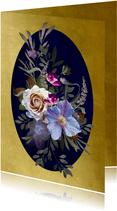 Verjaardagskaart klassiek boeket blauwe bloemen met goud