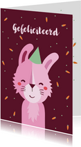 Verjaardagskaart konijn lief meisje