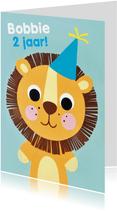 Verjaardagskaart leeuwtje met feestmuts
