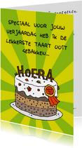 Verjaardagskaart lekkerste taart