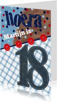 Verjaardagskaart man 18 stoer confetti