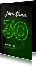 Verjaardagskaart man 30 jaar stoer neon groen ballon