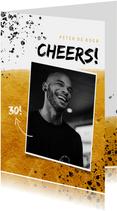 Verjaardagskaart man met foto, goud, spetters en cheers