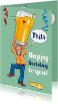 Verjaardagskaart man met groot glas bier