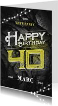 Verjaardagskaart man stoer zwart geel grunge