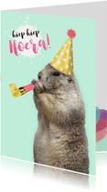 Verjaardagskaart marmot met feesthoedje en toeter