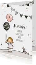 Verjaardagskaart meisje ballon a