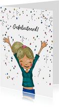 Verjaardagskaart meisje confetti hoera