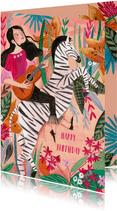 Verjaardagskaart meisje met gitaar op zebra met bloemen