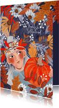 Verjaardagskaart meisje met pompoen in herfstbladeren