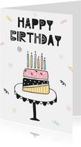 Verjaardagskaart meisje trendy taart