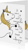Verjaardagskaart meisje 'Unicorn'