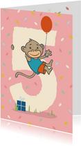 Verjaardagskaart met aapje - 5 jaar