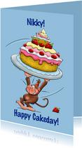 Verjaardagskaart met aapje en hele grote taart