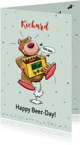Verjaardagskaart met beertje en biertje voor een man