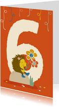 Verjaardagskaart met cijfer 6 - IR