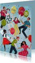 Verjaardagskaart met dansende mensen en ballonnen