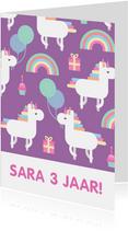 Verjaardagskaart met feestende unicorns
