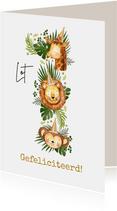 Verjaardagskaart met grote '1' van jungledieren en bladeren