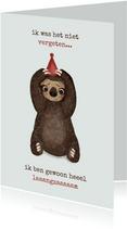 Verjaardagskaart met hele langzame luiaard