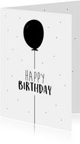 Verjaardagskaart met hippe illustratie van een ballon