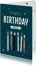 Verjaardagskaart met hippe kaarsjes