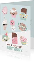 Verjaardagskaart met Illustraties van snoep, cake en ijs!