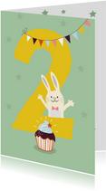 Verjaardagskaart met konijn - 2 jaar