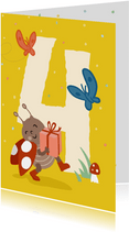 Verjaardagskaart met lieveheersbeestje - 4 jaar